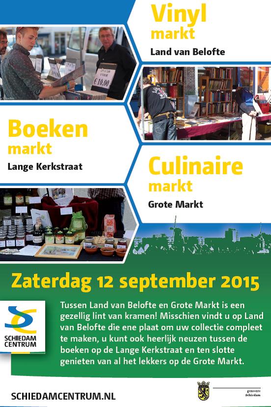 Culinaire markt, Boekenmarkt en Vinylmarkt in Schiedam